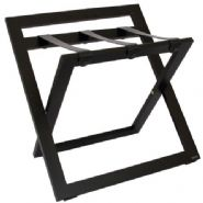 Compact Wooden Luggage Rack with Backstand and Leather Straps, Black